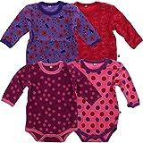 Pippi 4er Pack Kinder Mädchen Body mit Aufdruck, Langarm, Alter 3-4 Jahre, Größe: 104, Farbe: Pink, 3819