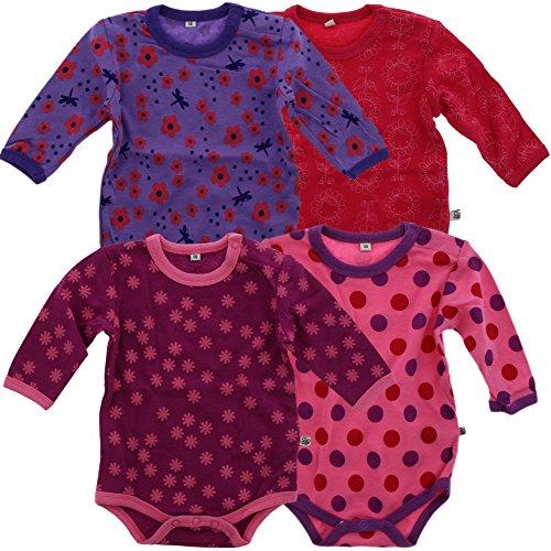 Pippi 4er Pack Baby Mädchen Body mit Aufdruck, Langarm, Alter 12-18 Monate, Größe: 86, Farbe: Pink, 3819