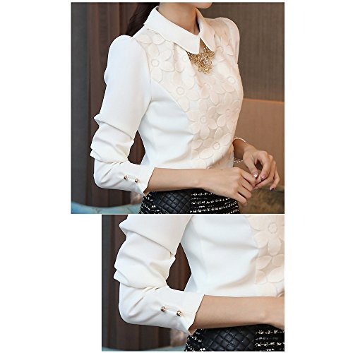 Evtech(tm) Women's Floral Long-sleeve Collar Pullover Polo Slim Casual Fashion Style Shirt - XL
