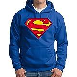 Felpa Per Uomo Superman Logo Con Cappuccio e Tasche -803- (Taglia XXL)