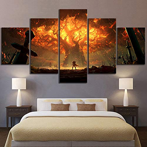 BOYH 5 stücke Wanddekoration Videospiel World of Warcraft Dota 2 Malerei Poster Dekorative Wandkunst Raumwanddekor,B,30×50×2+30×70×2+30×80×1 - 1 Dota
