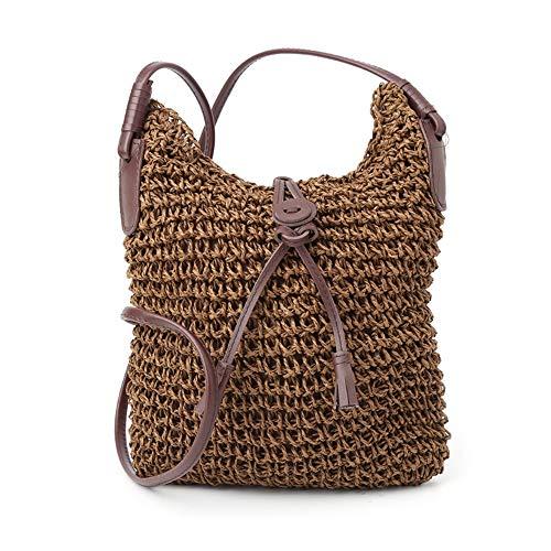 ZHOULINLIN Frauen-Handtaschen-Schulter-Beutel-Stroh-Webart-Tote-Geldbeutel-Dame Beach Bag Crossbody -