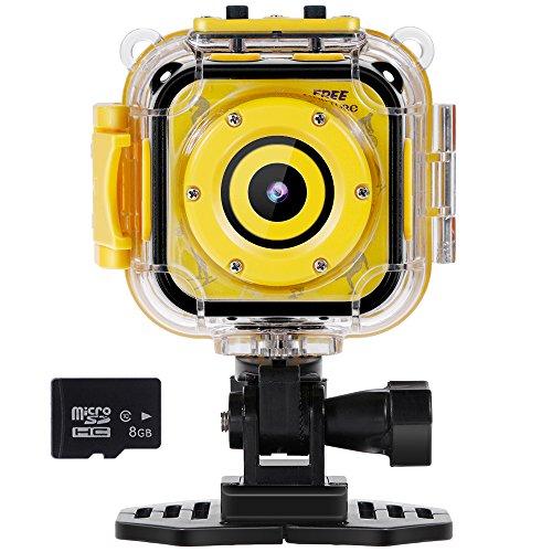 """Especificaciones:    Color: amarillo    Modo de función: grabación de video, fotografía, reproducción    Pantalla: pantalla LCD de color de 1,77""""    Diseño: IP68,a prueba de agua, se puede utilizar para piscina o bajo el agua (botón a prueba de ag..."""