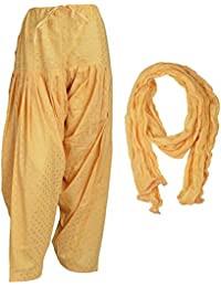 Priyaas Women's Cotton (GOLDEN BOOTI) Readymade Best Indian Semi Patiala Salwar With Matching Dupatta Set Combo