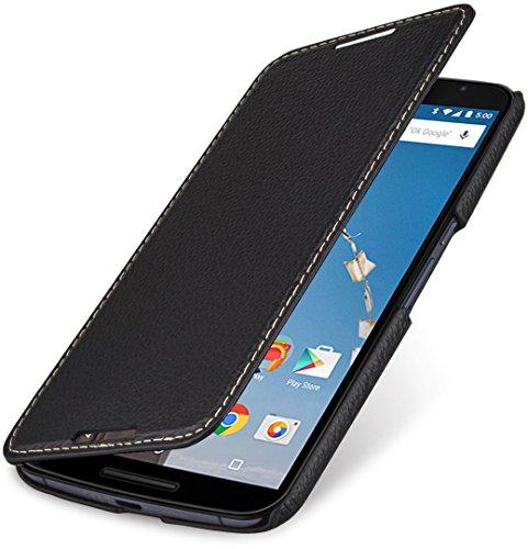 StilGut Book Type Case - ohne Magnet -, Hülle aus Leder für Google Nexus 6 & Motorola Nexus 6, schwarz