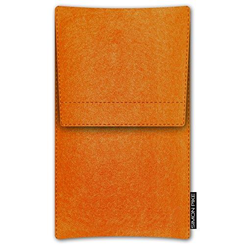SIMON PIKE Apple iPhone SE/5S/5C/5 Filztasche Case Hülle 'Sidney' in braun 15, passgenau maßgefertigte Filz Schutzhülle aus echtem Natur Wollfilz, dünne Tasche im schlanken Slim Fit Design für das iPh orange Filz (Muster 2)