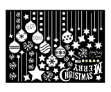 Emwel 2 Stück Weihnachtsdeko Merry Christmas Schaufensterdekoration Weihnachtssticker Wandaufkleber Fenster Aufkleber Engel Bälle Weihnachten Xmas Vinyl Fensterbilder Aufkleber Dekoration