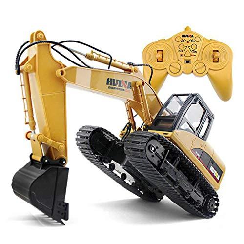 LSQR Fernsteuerungshydraulikbagger, 15 Kanal 2.4G 1/14 Aufladung RC Auto-Legierung Bagger RTR für Kinderspielzeug,Yellow
