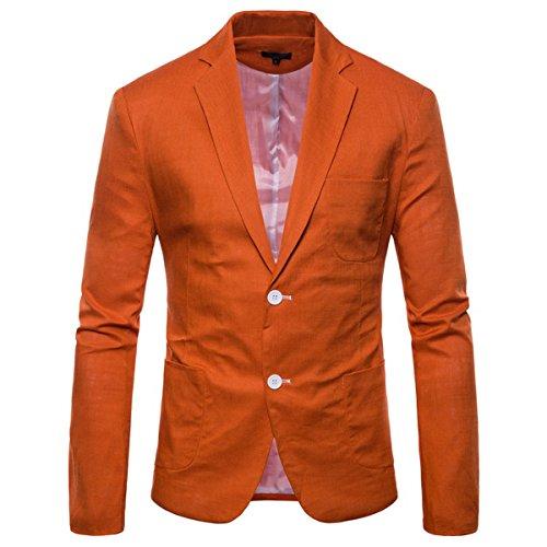 INVACHI Loose fit Herren Leinen Blazer Sakko Anzugjacke mit Zwei Knopf Freizeit (Blazer Und Orange)