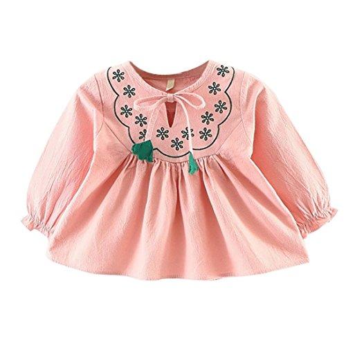 Longra Herbst Baby Kinder Kleinkind Mädchen Kleidung Prinzessin Kleid Kleinkind Blumekleid Bandage Anzug Langarm Mini Kleid Tops(0-36Monate) (60CM 6Monate, (Top Mini Satin Hut)