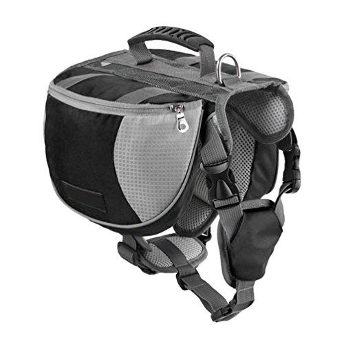 Yiiquanan Hund Rucksack Verstellbar Pack Mittelgroße & Large Hunderucksack für Wandern Camping Reise (Schwarz, Asia S)