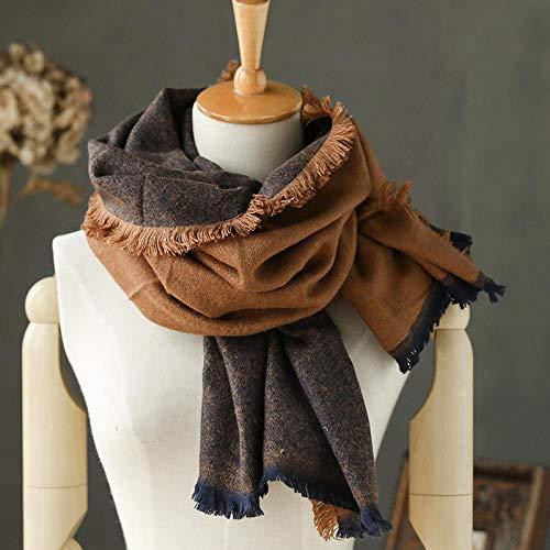 SCARFHJKL Halstücher für Damen Stolen für Damen Herbst- und Winterschal Langer Damenschal mit doppeltem Verwendungszweck zum Warmhalten - Blau gemischt + Mokka
