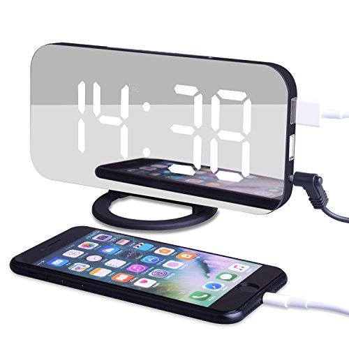 EVILTO- LED Digital-Wecker dimmbar, Spiegel Digital LED Tisch Helligkeit Funktion für Schreibtisch Wand Bett (Wand-schreibtisch)