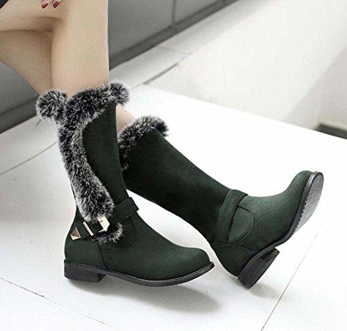 Stivali da neve donna da 2,5 cm Chunkly Tacco Round Toe Mid Calf Stivali Dolce Peluche Fibbia Stivali Boots Casual Stivali Eu Dimensioni 34-50 Green