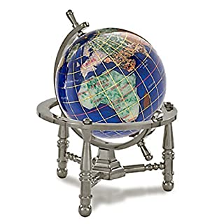 KALIFANO 3 Gemstone Globe w/ Caribbean Blue Opalite Ocean w/ Antique Silver Nautical 3-Leg Stand by Alexander Kalifano
