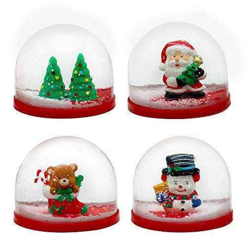 The Twiddlers 4 Mini-Weihnachtsschneekugeln Weihnachten saisonale Dekoration - 4 Verschiedene Weihnachtsmotive - Perfekt für Partytaschen, Strumpffüller, Pinata-Füller - Partytaschen