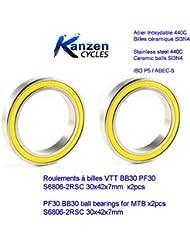 ROULEMENT A BILLES CERAMIQUE INOX BB30 30x42x7 ETANCHES 6806 2RS 2pcs BB30 PF30 pour VELO CYCLISME VTT MTB