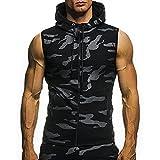 Herren Sommer Casual Camouflage Print mit Kapuze ärmellose T-Shirt Top Weste Bluse