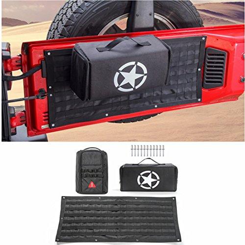 LITTOU Car Interior Heckklappe Aufbewahrungstasche & Tool Kit Cargo Organizer Tasche Satteltasche Fit Für Wrangler Car Styling (Schwarz) (Rc Car Aufkleber-kit)