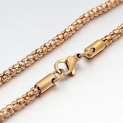Collar de acero inoxidable 79 cm en la de oro rosa de colour de bricolaje en el interior de estilo de las palomitas de maíz a partir del trabajo de
