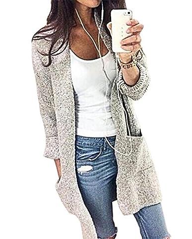 LANOMI Damen Herbst Strickjacke Herbstjacke Übergangsjacke Cardigan Lang Strickmantel Langarmshirt Offener V-Ausschnitt (Size XL / EU 40, Grau)
