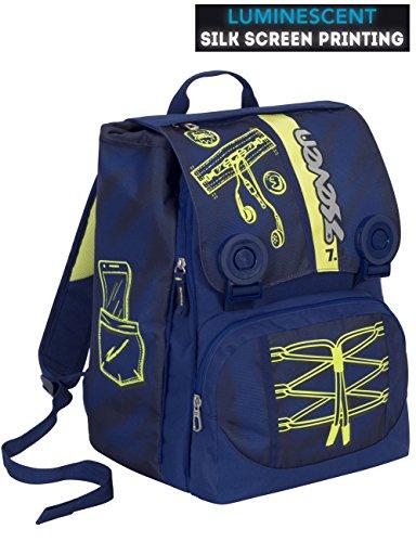 Zaino scuola seven - colorful boy - blu giallo - estensibile - serigrafia fotoluminescente - 28 lt - elementari e medie inserti rifrangenti