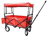 Bieco 22000116 - Faltbarer Bollerwagen mit Regenschutz, ca. 90 x 53 x 64 cm, Rot