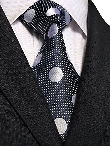 Landisun 66W Polka Dots Hommes Soie Cravate Ensemble 18E07 Navy Blue Grey