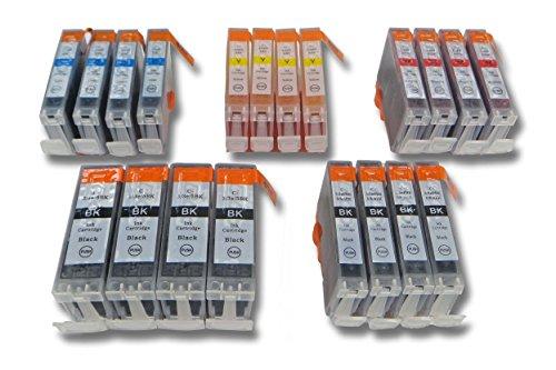 vhbw Lot de 20 Cartouches compatibles avec les appareils Canon PIXMA IP4000/PIXMA IP4000R etc, remplacent CANON BCI-3eBK, BCI-6BK, BCI-6C, BCI-6M, BCI-6Y