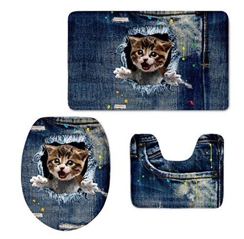 Preisvergleich Produktbild 3D Nette Denim Katze Hund Jeans Design 3 STÜCKE Set Bad Boden Teppich Home Hotel Decor rutschfeste Bereich Teppiche für WC Wc Deckel Pads , 14