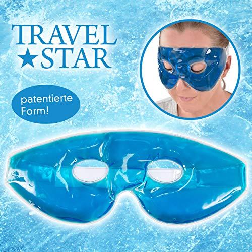 travelstar: patentierte Premium-Gel-Maske & Schlafmaske & Augenmaske | Kälte- & Wärmetherapie für geschwollene Augen + Kopfschmerzen (TS-C-1000) Kühlmaske Coolpack Cool Pack | Gelmaske | Frauen/Männer