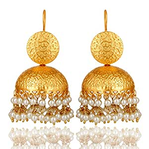 22K Yellow Gold Plated Brass South Indian Traditional Jhumka Earrings With Pearl