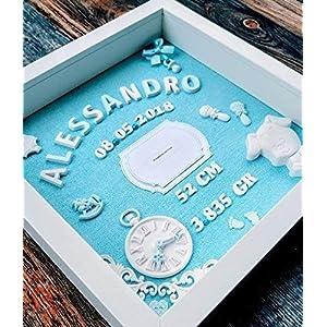 Geschenk für Baby Geburt Taufe Geburtstafel - 3D Bilderrahmen Personalisiert - Neugeborene, Geburtsdaten, Geburtsbild, Namensschild - Junge