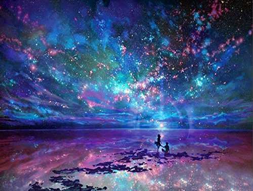 5D DIY Diamond Painting by Numbers Kits, Crystal Full Drill Embroidery Cross Stitch Rhinestone Mosaic Drawing Art Craft Home Wall Decor, Starry Night 11.8*15.7 Inch