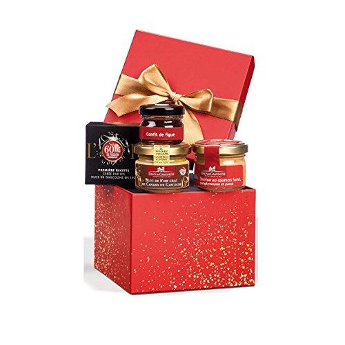 """Ducs de Gascogne - Petit cadeau gourmand """"Paillettes"""" - comprend 1 bloc de foie gras et 3 produits d'épicerie fine"""