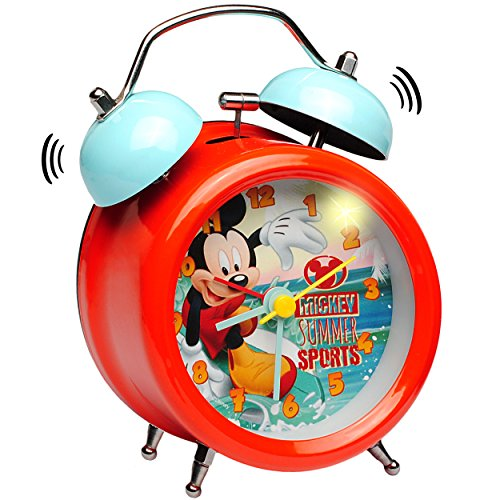 Surfer Licht (alles-meine.de GmbH LED Licht - Wecker -  Disney - Mickey Mouse - Surfer  - Kinderwecker Analog - Glocken Alarm - Metall - Kunststoff / Plastik - Mädchen & Jungen - Metallwecke..)