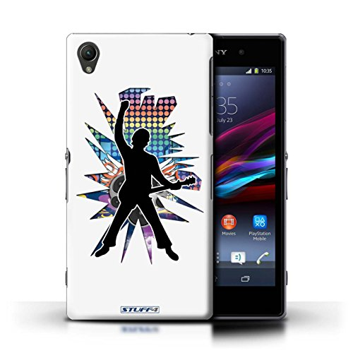 Kobalt® Imprimé Etui / Coque pour Sony Xperia Z1 / Windmill Noir conception / Série Rock Star Pose Windmill Blanc