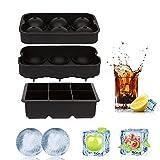 Pawaca Eiswürfel Tabletts, Silikon-Eiswürfelform (2er-Set), 6 Riesen-Eiskugel-Deckel & große quadratische Formen Eiskugel-Maker-Tablett für Jelly-Saft-Form Whiskey-Cocktail-Softdrinks mit Trichter