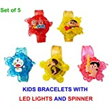 PROMIXO® WeKidz™ (Set Of 5) Best Birthday Return Gift For All Age Kids | Popular Cartoon Characters Bracelets With LED Lights And Spinner