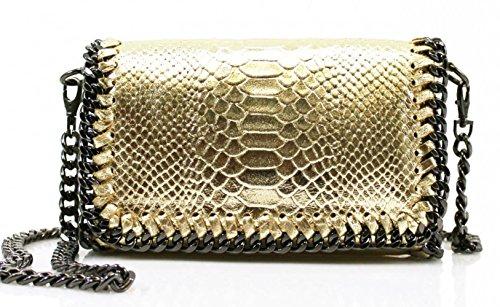 Kette Trim Genuine Italy Leder Kreuzbeutel Groß Marke nett Handtaschen VPS00 (Braun SchlangeHaut) LeahWard o5489kUoR