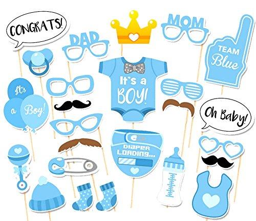 CAOLATOR 25 Stücke Fotorequisiten Fotoaccessoires Masken Fotorequisiten Baby Junge Partydekoration (Windeln, Flaschen, Socken, Gläser, Luftballons, Bart) (Mit Schnurrbart Baby)