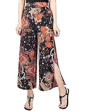 Aivtalk - Pantalones Anchos Estampado para Mujer Verano de Gasa Ligero con Raja Lateral Pants Herem Women Talla...