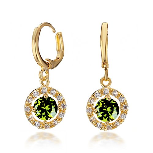 Gemini Ohrhänger (Gold 18K), Smaragd Stein eingefasst mit Kristall Stein Elementen, Rundform, sehr leicht, für gehobene Anläße, beliebt bei Girls & Damen, 2,5 cm Länge