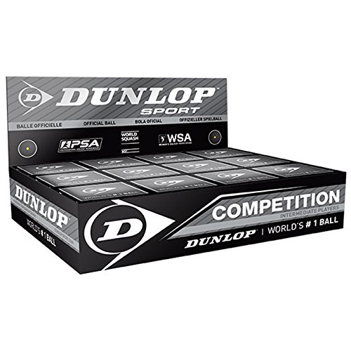 "12x Dunlop Squash Balls ""Competition"" yellow"