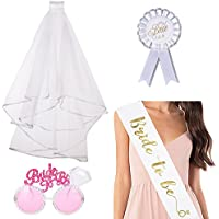ResPai Sposa di Essere Bride To Be Satin Sash Rosette Badge Velo da Sposa  con Pettine e Occhiali Rosa per Addio. 2da3e08e09f2