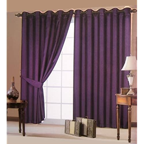 Plum Eyelet Curtains: Amazon.co.uk
