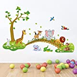 #9: Printelligent Wall Sticker For Walls 'Jungle Animals Wall Stickers For Kids (Finished Size On Wall - 120(W) X 90(H) Cm)