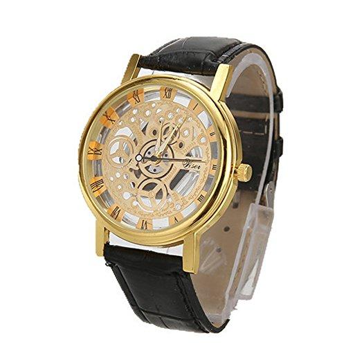gloaming Männer Luxus Edelstahl Quarz Military Vintage Watch Lederband Zifferblatt Handgelenk Sportuhr
