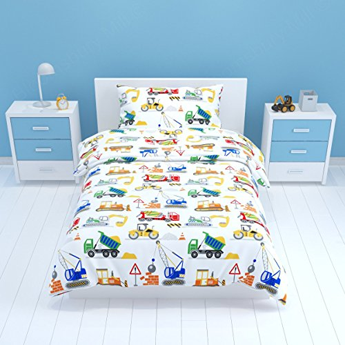 Bloomsbury Mill - Construction Vehicles - Trucks, Diggers & Cranes - Kids Bedding Set - Junior / Toddler / Cot Bed Duvet Cover & Pillowcase