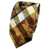 TigerTie - corbata estrecha - amarillo naranja blanco gris olive negro rayas